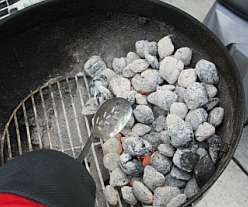A bbq mit is ideal when moving the coals